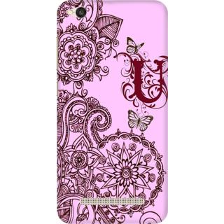 Printed Designer Back Cover For Redmi 4A - Floral Pattern Letter Alphabet U Design