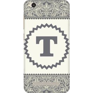 Printed Designer Back Cover For Redmi 4A - Vintage Floral Pattern Letter Alphabet T Design