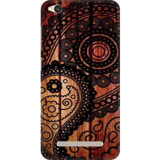 Printed Designer Back Cover For Redmi 4A - Dark Wood Floral Pattern Design