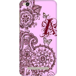 Printed Designer Back Cover For Redmi 4A - Floral Pattern Letter Alphabet A Design