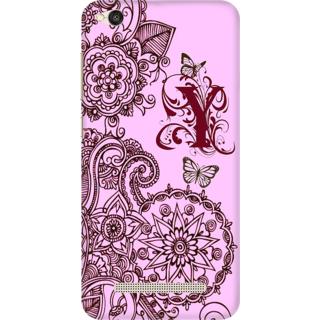 Printed Designer Back Cover For Redmi 4A - Floral Pattern Letter Alphabet Y Design