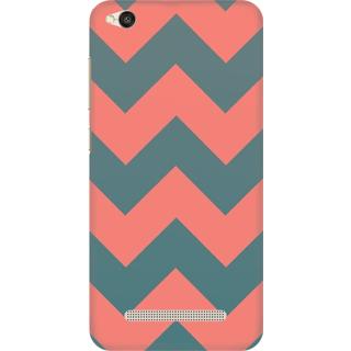 Printed Designer Back Cover For Redmi 4A - Blue Zig Zag Stripes Design