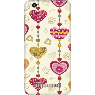 Printed Designer Back Cover For Redmi 4A - Vintage Hearts Grunge Pattern Design