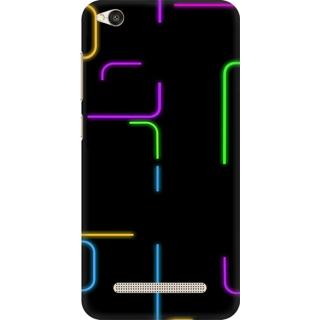 Printed Designer Back Cover For Redmi 4A - Neon Glow Pattern Design