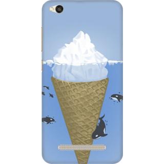 Printed Designer Back Cover For Redmi 4A - Ice Cream Cone Sharks Design