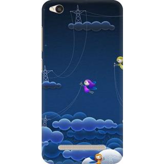 Printed Designer Back Cover For Redmi 4A - Illustration Clouds Lightening Design