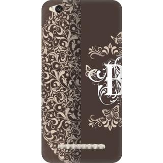 Printed Designer Back Cover For Redmi 4A - Vintage Floral Pattern Letter Alphabet B Design