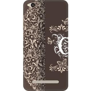 Printed Designer Back Cover For Redmi 4A - Vintage Floral Pattern Letter Alphabet C Design