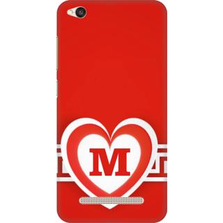 Printed Designer Back Cover For Redmi 4A - Red Heart Pattern Letter Alphabet M Design