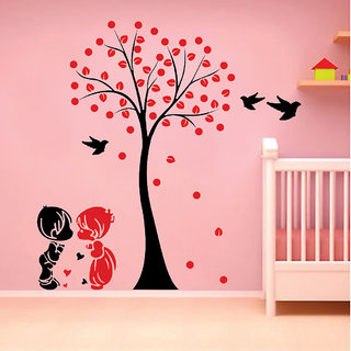 EJA Art Acacia Tree cute couple kids Wall Sticker Material  PVC Pec  1