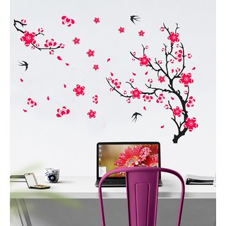 EJA Art Different tree with flower Wall Sticker Material  PVC Pec  1