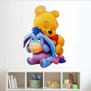 EJA Art Pooh with Eeyore Wall Sticker (Material - PVC) (Pec - 1) With Free Set of 12 pec butterflies sticker