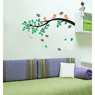 EJA Art Birds-Branch Wall Sticker (Material - PVC) (Pec - 1) With Free Set of 12 pec butterflies sticker