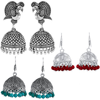 Spargz Party Wear Silver Oxidized Combo of 3 Pair Dangle Earring Combo 582