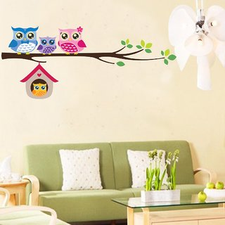 EJA Art owls cute famliy Wall Sticker (Material - PVC) (Pec - 1) With Free Set of 12 pec butterflies sticker