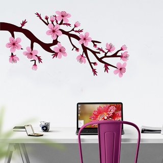EJA Art Branch with beautiful flower Wall Sticker (Material - PVC) (Pec - 1) With Free Set of 12 pec butterflies sticker