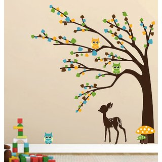 EJA Art brown tree cute animals Wall Sticker Material  PVC Pec  1