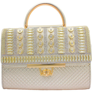 LUIS MEKAL Women's Gold Embellished Synthetic Clutch