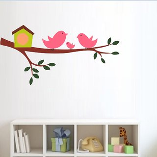 EJA Art HAPPY BIRD FAMILY Wall Sticker Material  PVC Pec  1