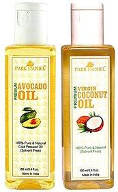 Park Daniel Premium Avocado oil and Virgin Coconut oil combo pack of 2 bottles of 100 ml(200 ml)