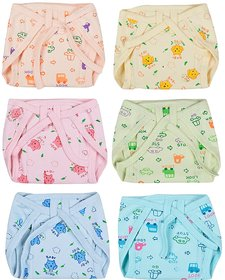 Kotton Labs Newborn Baby Hosiery Cotton Cloth Nappies (pack of 6)