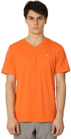 Zeven  Performance Essentials  Orange  V-Neck T-Shirt For Men