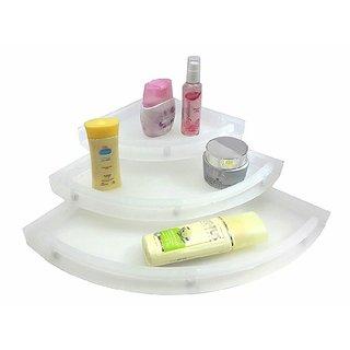 Prestige Unbreakable Acrylic Corner Set Of 3 Pcs Bathroom Shelves Color Clear