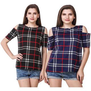 FINE Blue Embroidered Off Shoulder Basic for Women's