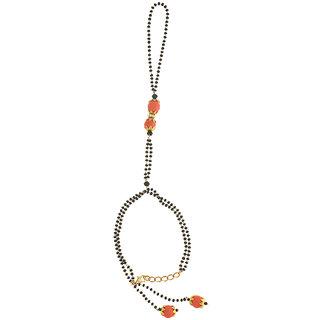 Anuradha Art Peach Colour Stylish Classy Wrist Mangalsutra Bracelet For Women