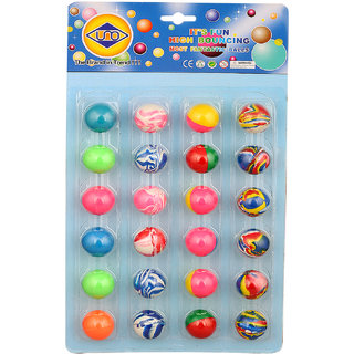 ZINIZONY Colorful Bouncy Balls Stress Reliever Fun Play Birthday Return Gift For Kids 24 Pcs
