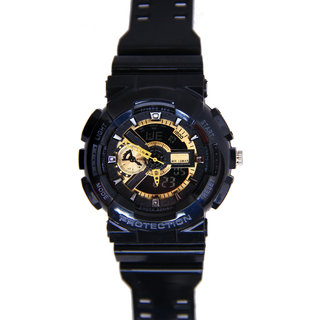 Black Silicon strap watch for men