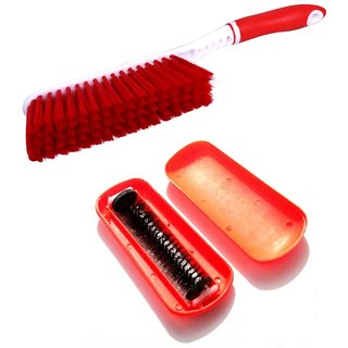 De-Ultimate Combo Of Carpet /Bed Cleaning Hard  Long Brush With Magic Roller Hand Dust Cleaning Brush