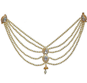 Lucky Jewellery Designer White Color Gold Plated Saree Sari Pearl Blouse Back Accessories Jewelry Brooch Pin For Girls  Women
