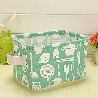 Aeoss Cute Print Cotton Linen Desktop Storage Organizer Sundries Storage Box Cabinet Underwear Storage Basket