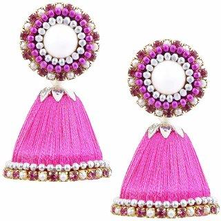 Halowishes Handmade Silk Thread Work Light Pink Jhumki