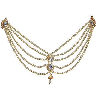 a66206856 Lucky Jewellery Designer White Color Gold Plated Saree Sari Pearl Blouse  Back Accessories Jewelry Brooch Pin