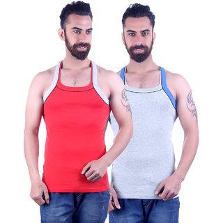 Odoky Grey  Red Men's Vest Pack Of 2