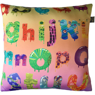 Lushomes Kids Alphabets 1 Digital Printed Cushion Cover with top white invisible zipper (16 x 16 Single Pc)
