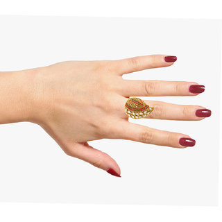 Silveria Designer Women Party Wear Golden  Silver Ring
