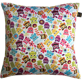 Lushomes Kids Owl Digital Printed Cushion Cover with top white invisible zipper (16 x 16 Single Pc)