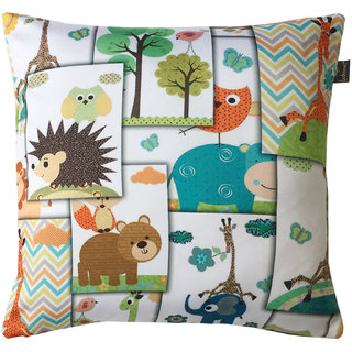 Lushomes Kids Funny Animals Digital Printed Cushion Cover with top white invisible zipper (16 x 16, Single Pc)