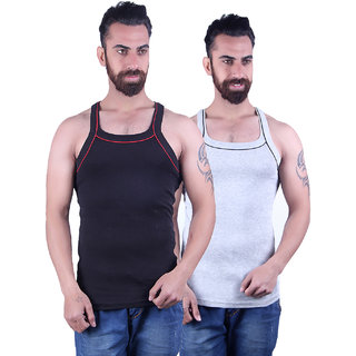 Odoky Black Grey Men's Vest Pack Of 2 NR