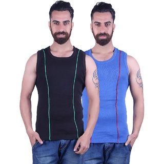 Odoky Black  Royal Blue Men's Vest Pack Of 2
