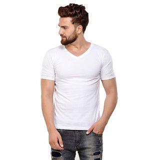 JSCK Cotton V-Neck Half Sleeve White Solid T-Shirt