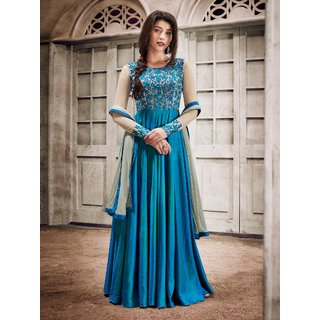 Designer Fancy Silk  Sky Blue Anarkali Gown Salwar Suit