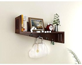 Shilpi Amazing Designer Wall Bracket / Wooden Color Full Wall Shelf With Key Hooks