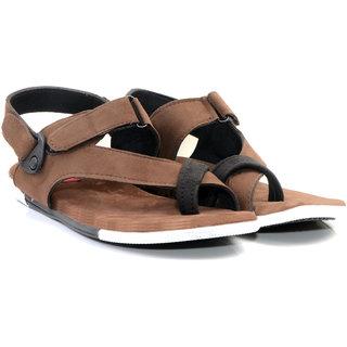 b5e5596b08cfc Buy Drake Men s Brown and Black Velcro Sandal Online - Get 6% Off