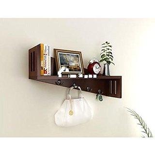 Shilpi Amazing Designer Wall Bracket Wooden Color Full Shelf With Key Hooks Online Get 20 Off