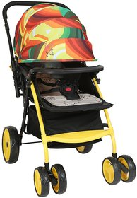 Polly's Pet Multicolor Baby Stroller ; Swivel and Fixed Wheel, Foldable Canopy