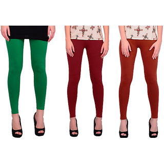 BNA Green, Mehroon, Brown Coloured Leggings Cotton & Lycra